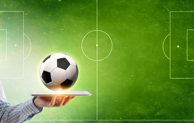 タブレットでサッカー
